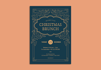 Christmas Brunch Flyer Layout with Holly Illustrations