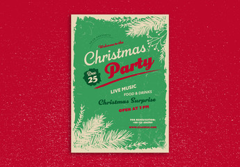 Christmas Party Flyer Layout with Pine Branch Illustrations