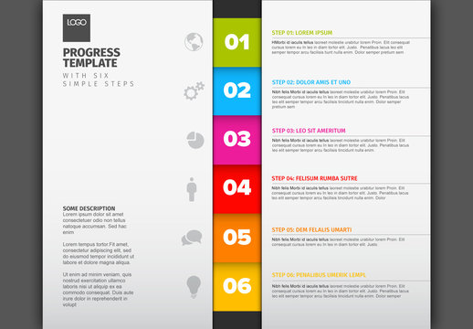 Vertical Six Step Infographic Layout