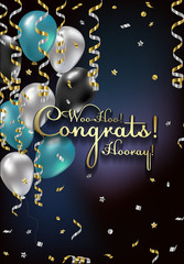 Congratulations vector illustration man. Happy Birthday boy! You are invited to a party! Balloons, streamers, confetti, gold and silver. Congrats on the holiday