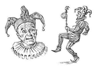 Funny jester in fool s cap. Clown in costume. Comedian character. Vintage engraved illustration. Monochrome style.