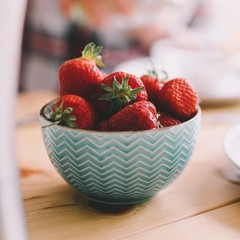 Close up of fresh strawberries in bowl