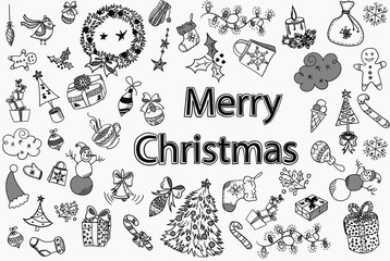 A set of Merry Christmas design element in doodle style