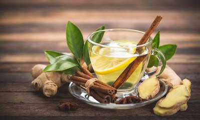Healthy ginger tea with lemon