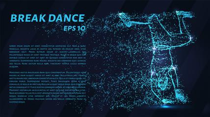 Break dance of blue glowing dots. Dancer dancing on his head.