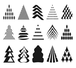 set of 15 abstract Christmas trees