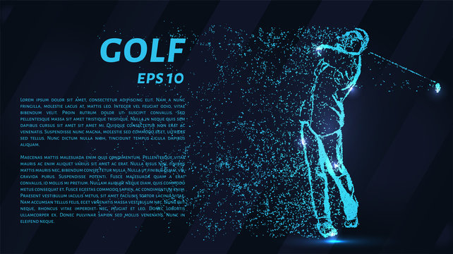 Golf from the blue points of light. Golfer strikes.
