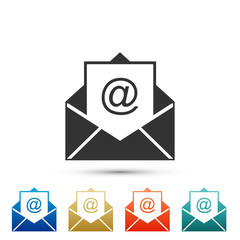 Mail and e-mail icon isolated on white background. Envelope symbol e-mail. Email message sign. Set elements in colored icons. Flat design. Vector Illustration