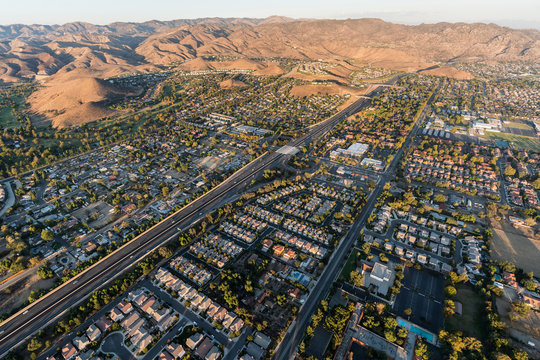 Aerial view of Simi Valley, route 118 freeway and the Santa Susana Mountains near Los Angeles, California.