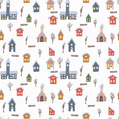 Seamless vector pattern with colorful houses and rail road with train. Hand drawn winter countryside for backgrounds, wrapping paper and other designs