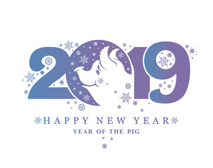 Year of the Pig 2019. Happy New Year! Vector template New Year's design on the Chinese calendar.