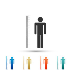 Measuring height body icon isolated on white background. Set elements in colored icons. Flat design. Vector Illustration