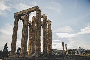 open air museum with ancient roman columns of old temple Roman architecture building