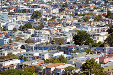 Aerial view of a residential district of San Francisco