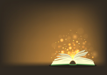 Magic book. Open book with magic lights with place for your text. Vector illustration.