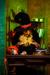 Image of witch of saucepans with magic potion
