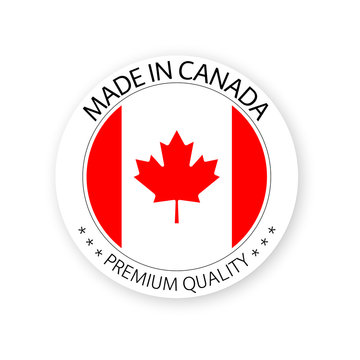 Modern vector Made in Canada label isolated on white background, simple sticker with Canadian colors, premium quality stamp design, flag of Canada