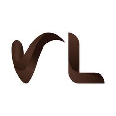 VL Letter Logo Design.3d. Template with brown Colors