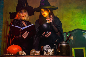 Photo of smiling two witches in black hats reading book at table with pumpkin and skulls