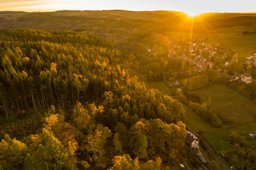 aerial view of an autumn landscape - sunset sky