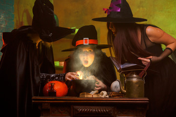 Image of three witches in hats cooking poison on cauldron