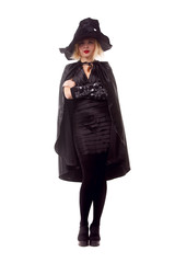 Full-length photo of witch blonde in black hat