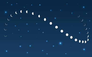 Moon phases astronomy with stars icon set. Vector Illustration on the dark background with stars.