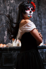 Halloween photo of girl with white make-up