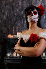 Halloween picture of zombie woman with makeup