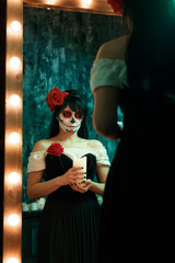 Picture of zombie girl with white face