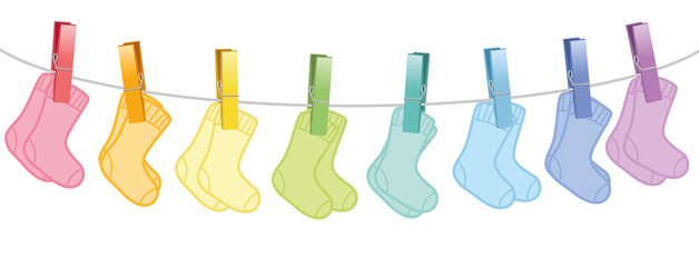 Baby socks. Colored pairs hanging on a clothes line. Isolated vector illustration on white background.