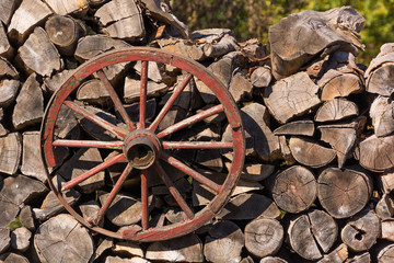 An Old Cart Wheel Used as a Decoration