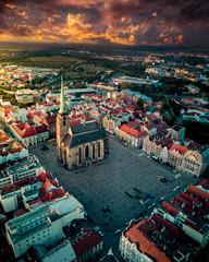 Aerial of a church in the Czech Republic