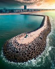 Cinderblocks along the coastline in Belgium