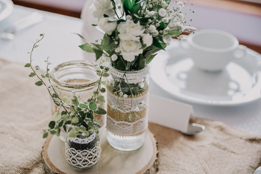 Wedding decor table setting and flowers.