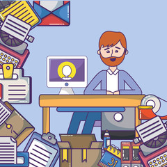 business office employee workspace cartoon