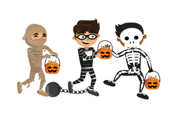 Kids with halloween costumes