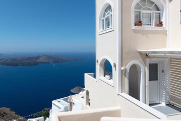 House with panoramic view on volcanic caldera at Santorini island, Greece