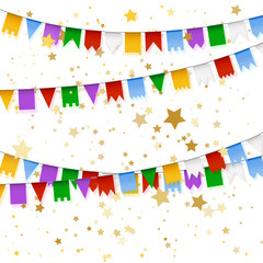 Garland with realistic flags. Holiday background with gold star confetti.