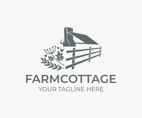 Wedding farm cottage, roof and chimney with fence and herbs, logo design. House or home rustic, rural scene and countryside, vector design and illustration