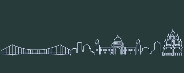 Kolkata Single Line Skyline Papier Peint