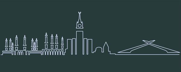 Mecca Single Line Skyline