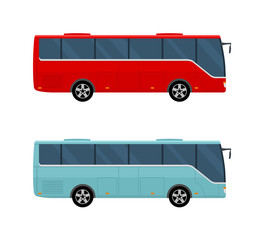 Modern Bus isolated on white background. Flat style, vector illustration.