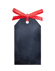 Black chalkboard tag with bright red satin ribbon. One single object, top view. Handdrawn water color illustration on white, isolated element for design, decoration, cards, scrapbooking embellishment.