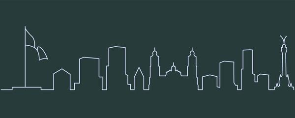 Mexico City Single Line Skyline Papier Peint