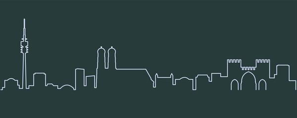 Munich Single Line Skyline