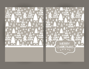 Merry Christmas  greetings card with Christmas symbols and hand drawn elements.