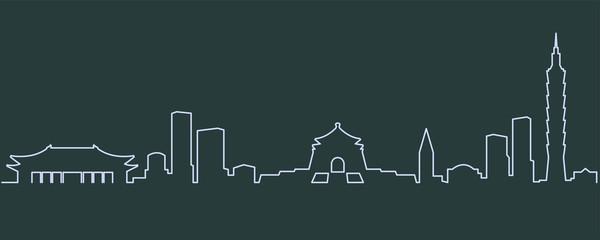 Taipei Single Line Skyline
