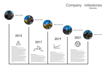 Vector company milestone with line and blurred icons