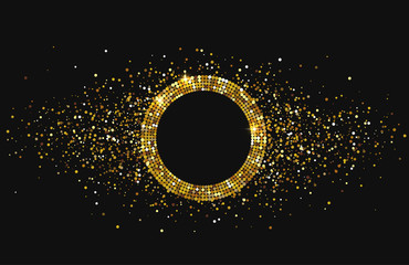 Black shiny festive background with golden round frame and confetti.